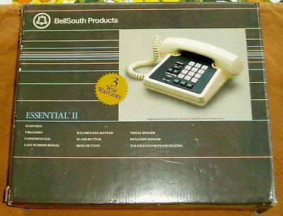 - Mint Box Retro NOS 09872 Bell South Essential II Touch Tone Telephone Desk Set
