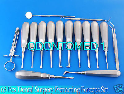 Huge Lot 63 Pc Dental Surgery Extracting Forcep Extraction Elevator Plier Dn-575