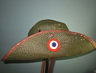 Indonesia KNIL jungle bush slough hat colonial bamboo cap 1930s WW2 mutze helmet