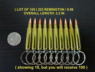 ( LOT OF 100 ) ONCE FIRED REAL BULLET KEYCHAIN 223 REMINGTON / 5.56 FMJ