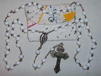 White Rosary, Acrylic Rosary, 8mm, Catholic Rosary, Handmade Rosary & pouch