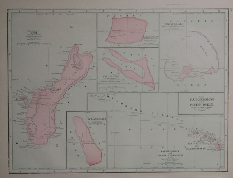 1902 U.S. Pacific Islands Possessions Color Map** Guam, Wake, Baker, Midway, etc