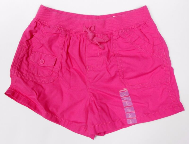 *NEW Carter's Girl's Knit Elastic Waistband Cotton Shorts, Pink- Size 6