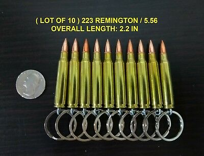 ( LOT OF 10 ) ONCE FIRED REAL BULLET KEYCHAIN 223 REMINGTON / 5.56 FMJ
