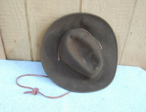 "Boy Scouts of America BSA Old Felt Scout Master Hat 13""x5""t Leather Cord Vintage"