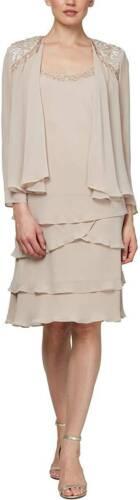 S.L. Fashions Womens 2 Pc Embellished Tiered Jacket Dress Ivory Chiffon Sz.16W