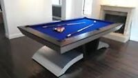 Set up or dismantle of pool tables. Re-cloth table or rails