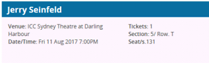 Seinfeld ticket - Darling Harbour Cabarita Canada Bay Area Preview
