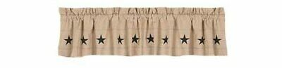 Home Collection by Raghu Danville Star Valance, 72 by 15.5-Inch, Nutmeg/Black