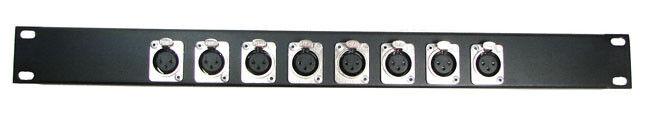 1U Procraft 8 Channel Female XLR Rack Panel     AFP1U-8XF-BK