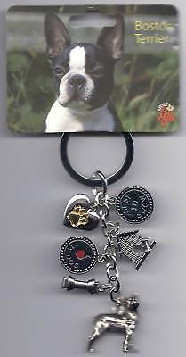 BOSTON TERRIER Dog 6 Charm Best In Show Keychain