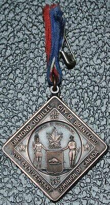 1867 1937 City Of Brantford   Dominion Of Canada Diamond Jubilee Medal   Scarce