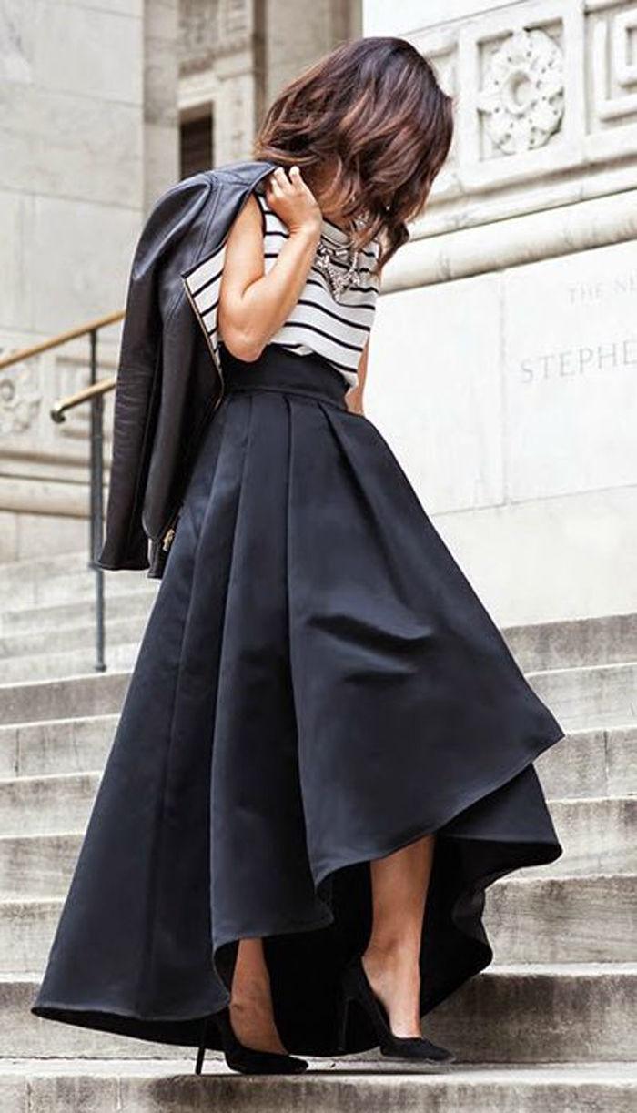 Stretch High Waist Flared Pleated Long Skirt