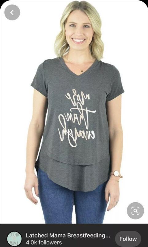 Latched Mama V-Neck Nursing Maternity Mirror Shirt Gray More Than Enough Large