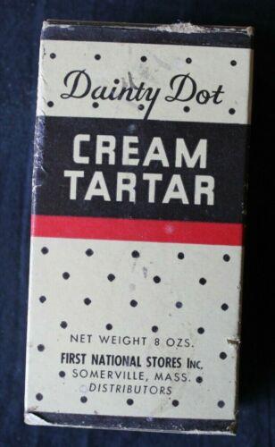 "Vintage ""DAINTY DOT"" Brand Unopened Box of Cream Tartar - First National - Rare"