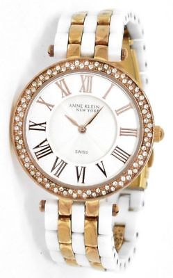 ANNE KLEIN Womens 12/2262RGWT Rose Gold-Tone & White Ceramic Crystal Watch