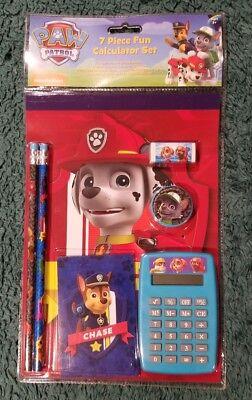 New Paw Patrol 7 Piece Fun Calculator Set School Supplies Notepad Memo Eraser
