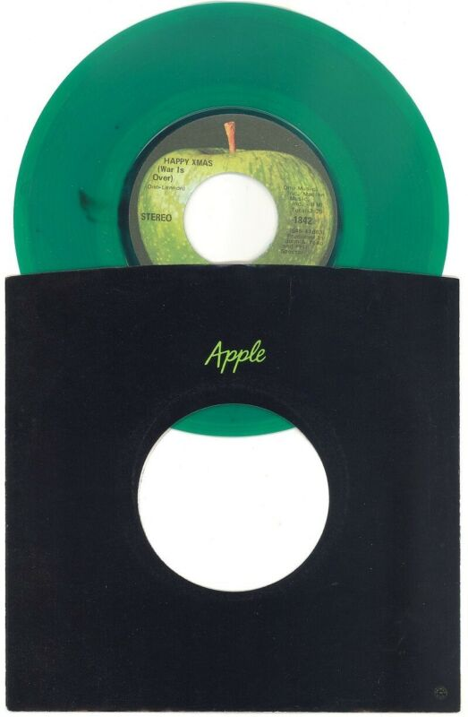 JOHN LENNON & YOKO ONO ~ HAPPY XMAS 45 ~ GREEN w BLACK SPLAT ~ 1971 APPLE SLEEVE