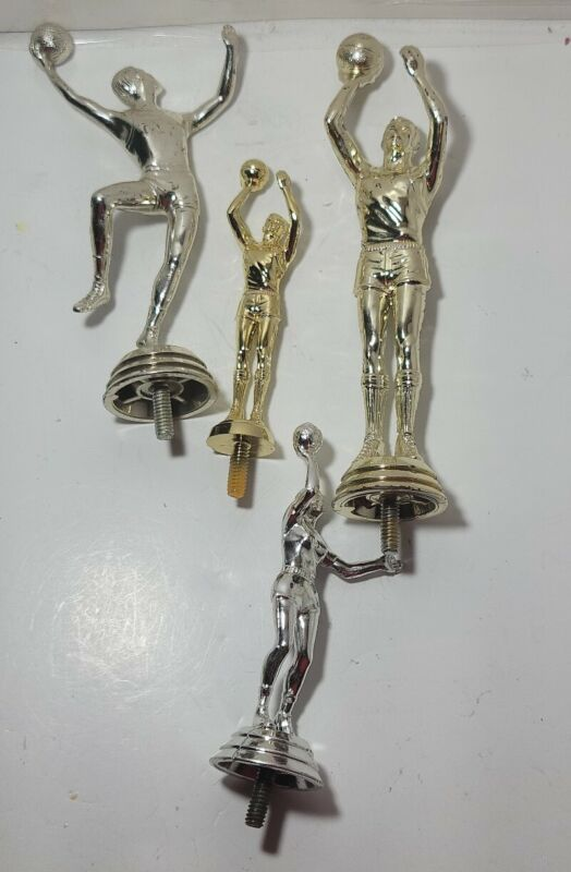 Lot of 4 plastic trophy topper Silver and gold basketball players Awards