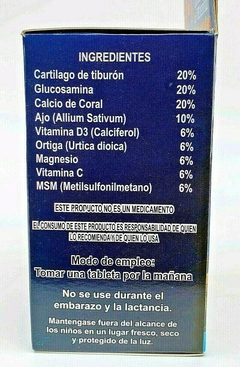 3 en 1 CARTILAGO TIBURON GLUCOSAMINA CALCIO CORAL REFORZADO + AJO FREE SHIPPING 6