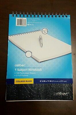 1 Caliber 1 Subject Notebook College Ruled 100 Sheet 8.5 X 11