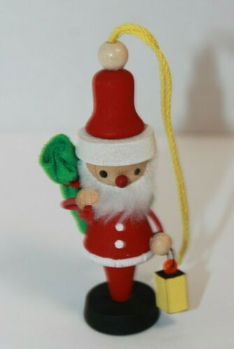 Vintage Schubach Santa Claus Wooden Christmas Ornament USA