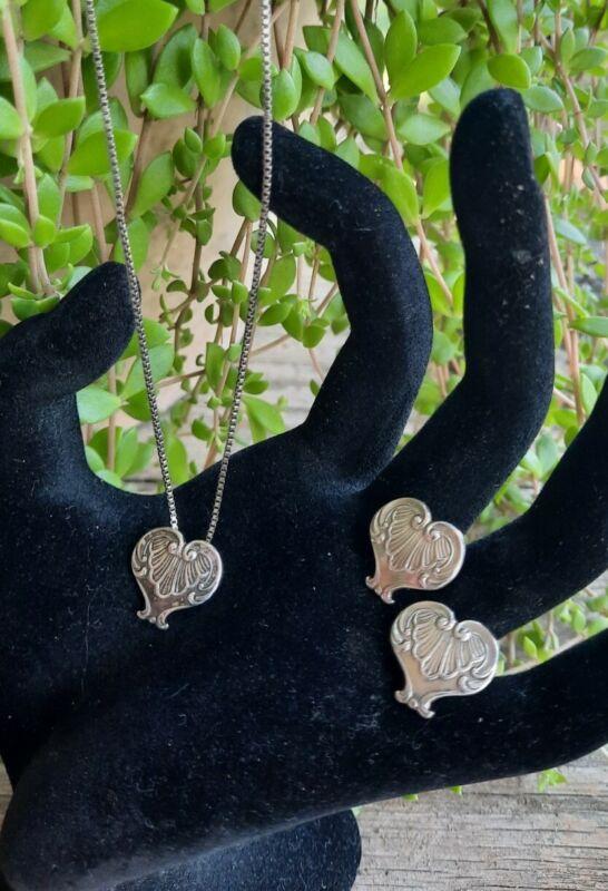 Vtg Sterling Silver Heart Necklace Earrings Set Lot 925 Signed LK