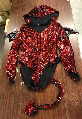 WOMEN'S SEXY SEQUINED DEVIL LEOTARD COSTUME SIZE SMALL (custom sizing) - Devil Leotard Costume
