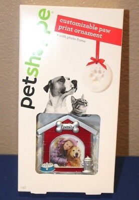 Pet Shoppe customizable Dog Paw Print Ornament With Photo Frame memorial NEW
