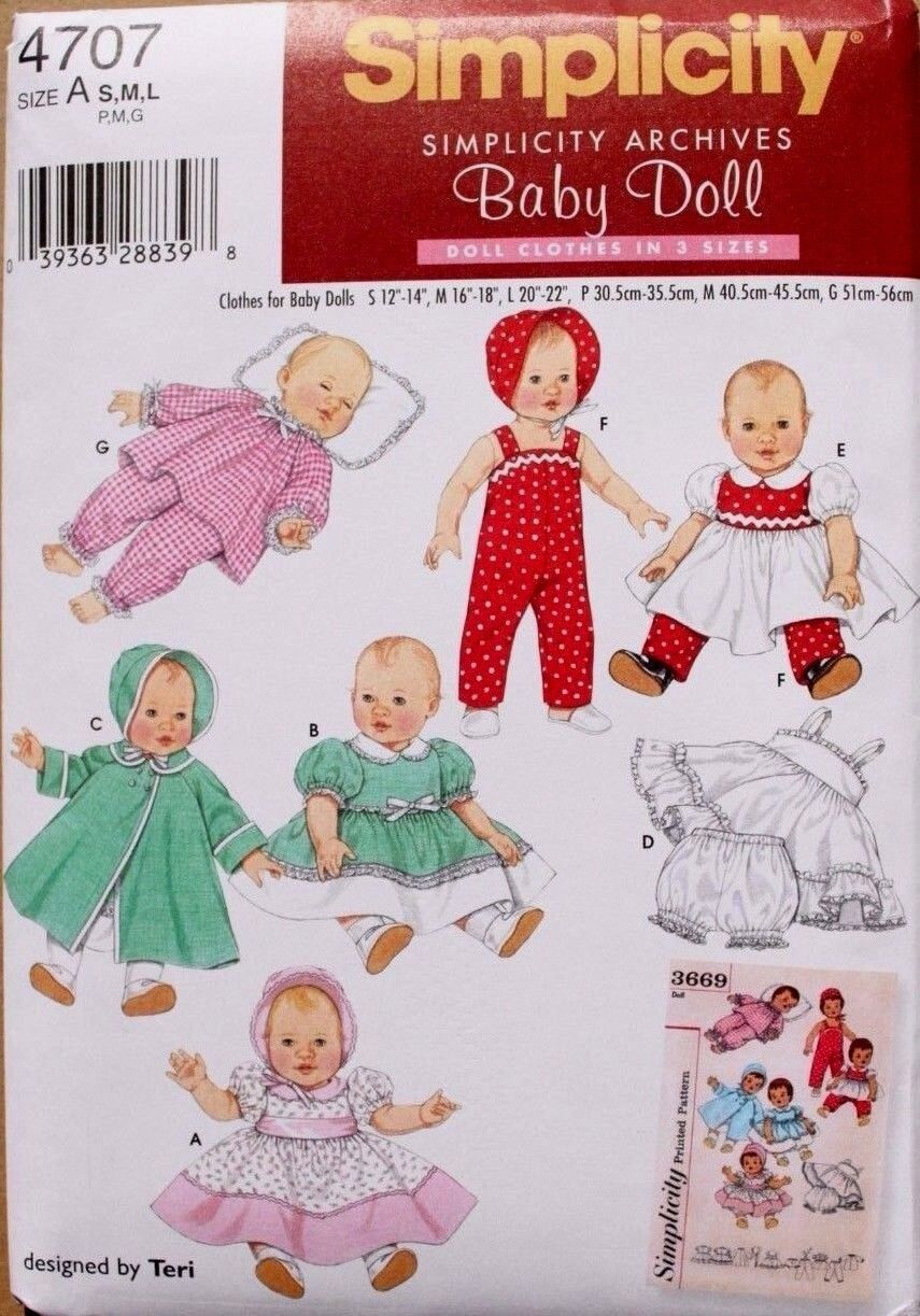 "BABY DOLL CLOTHES Simplicity Pattern 4707 NEW Baby Doll Wardrobe 12-22"" S-M-L"