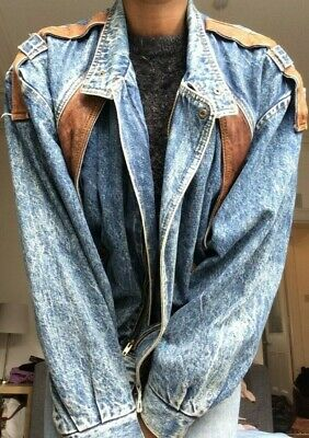 90s Womens Vintage Western Style Oversized Denim & Leather Cowboy Denim Jacket L