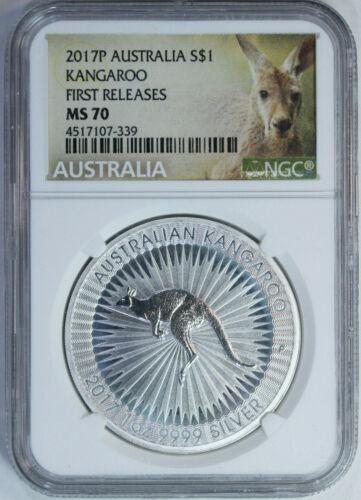 2017 P Australia Silver Kangaroo 1 oz $1 - NGC Mint State 70 / First Releases