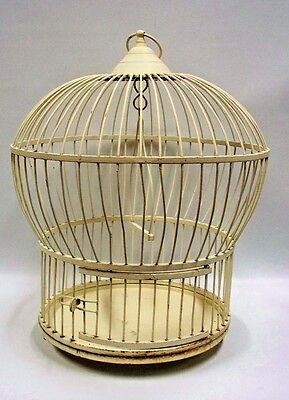 """Solid Metal Bird Cage Round Domed Painted Cream White 17"""" Swing VINTAGE"""