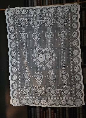 SHABBY CHIC FOLK ART HEARTS TOILE cotton designer lace panel prim cream