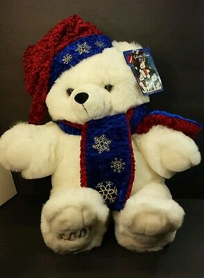 "Main Joy Plush White Bear Stuffed Animal Teddy Bear Christmas 21"" w/tag 2001"