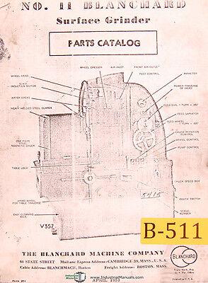 Blanchard 11 Surface Grinder Parts Manual 1953