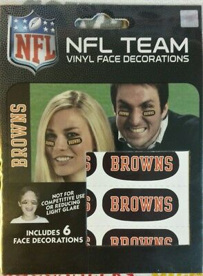 NFL set/6 Eye Black Strip Stickers Cleveland Browns (Face/Body Decorations) 3pr