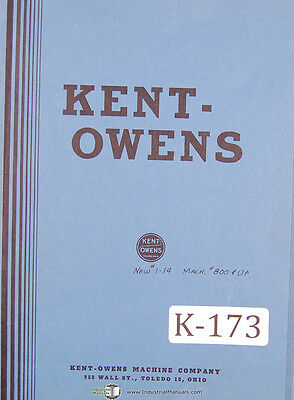 Kent Owens 1-14 Double Cycle Bed Milling Machine Parts Manual