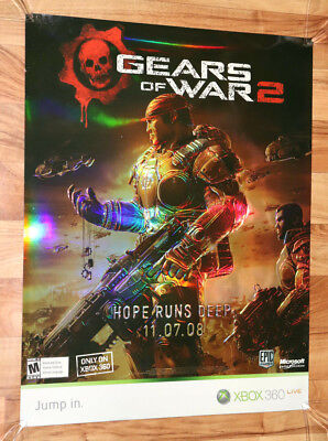 Gears of War 2 Xbox 360 Extremely Rare Promo Poster Glossy Foil / GOW Holy Grail
