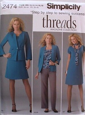 Misses DRESS-TOP-PANTS-JACKET-SCARF Simplicity Pattern 2474 NEW Sizes 10-18