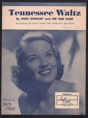 Tennessee Waltz 1948 Patti Page Sheet Music