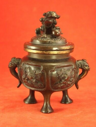 "Chinese Bronze Censor with Lid - Foo Dogs and Elephants 4¾"" 659g"