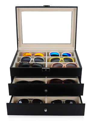 18 BLACK CARBON FIBER DRAWER EYEGLASS SUNGLASS OVERSIZED STORAGE DISPLAY CASE