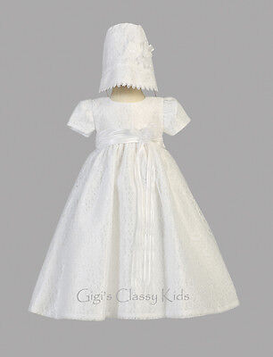 Baby Girls White Christening Baptism Dress Gown Floral La...