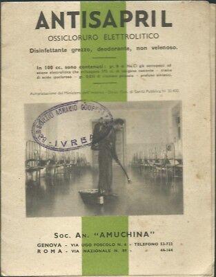 Antisapril Amuchina Genova 1941 Depliant Cartoncino Pubblicitario Farmacia