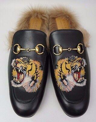 Gucci Black Princetown Fur Leather Tiger Embroidery Men's Loafer Size 8 UK/ 9 US