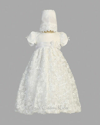 (Baby Flower Girls White Tulle Sequins Dress Gown Christening Baptism New Bonnet )