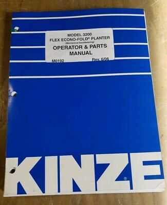Kinze 3200 Flex Econo-fold Planter Operator Parts Manual 6061j-2487-y15