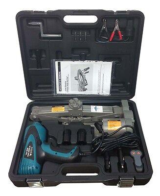 """2 Ton 12V Electric Scissor Car Jack + 1/2"""" Impact Wrench Lift Lifting Kit COMBO"""