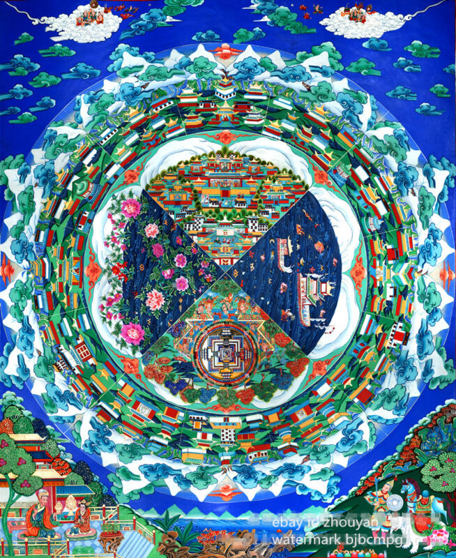 "MANDALA OF PARADISE OF FUTURE WORLD - 28"" BLESSED TIBETAN SILKPRINT THANGKA ="